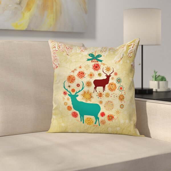 Christmas Reindeer Winter Square Pillow Cover by East Urban Home