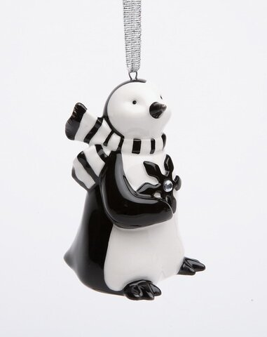 Penguin Holding a Snowflake Hanging Figurine by Th