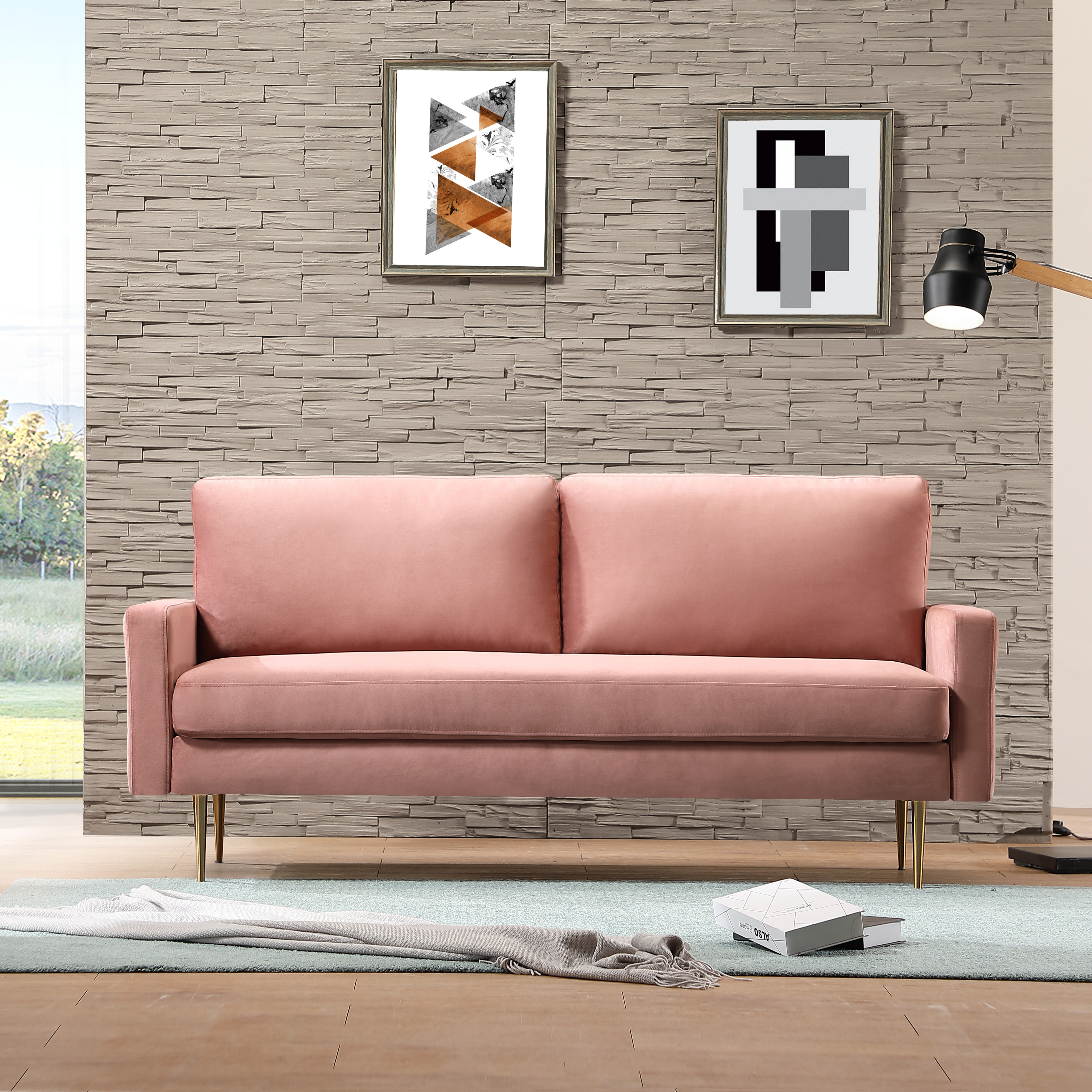 Latitude Run Christabel 72 4 Wide Velvet Square Arm Sofa Reviews Wayfair
