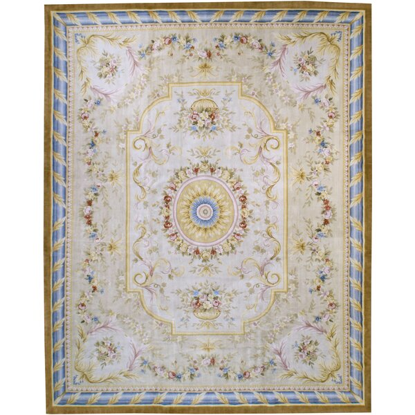One-of-a-Kind Hand-Knotted Beige 12'9 x 16' Wool Area Rug