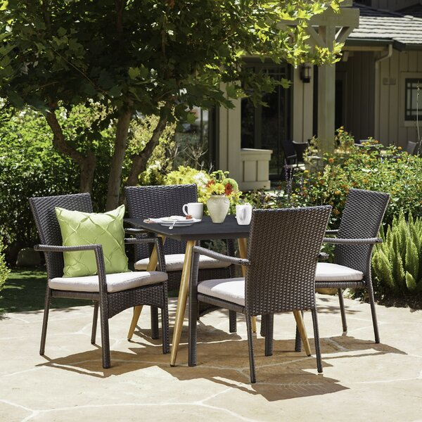 Downend Outdoor 5 Piece Dining Set with Cushions by Ivy Bronx