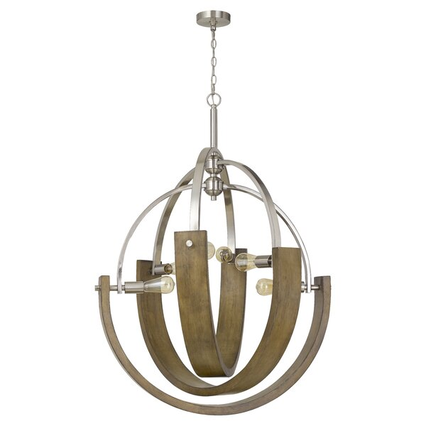 Carbry 6 - Light Unique / Statement Wagon Wheel Chandelier with Wood Accents by Gracie Oaks Gracie Oaks