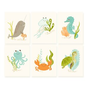 6 Piece Ocean Friends Paper Print Set by Sea Urchin Studio