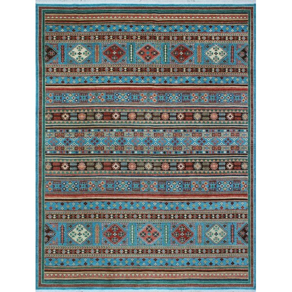 One-of-a-Kind Millard Abeni Hand-knotted Wool Blue Area Rug by Bloomsbury Market