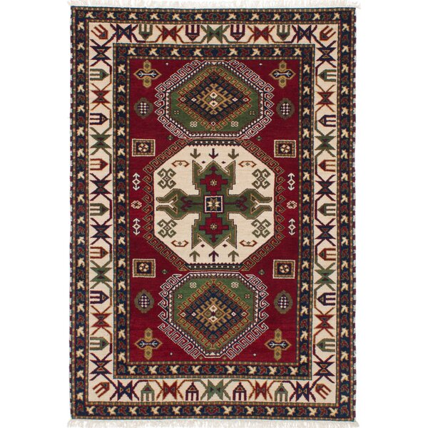 One-of-a-Kind Adrienne Kazak Hand-Knotted Wool Dark Red/Beige Area Rug by Isabelline