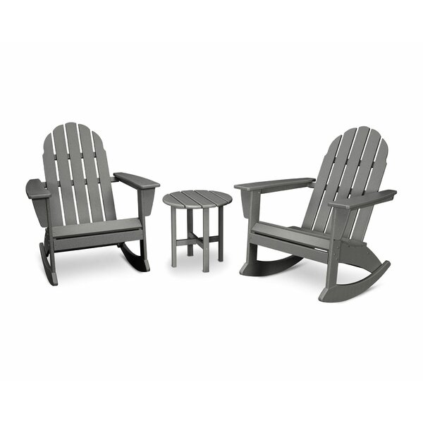 Vineyard 3 Piece Plastic Rocking Adirondack Chair Set by POLYWOOD®