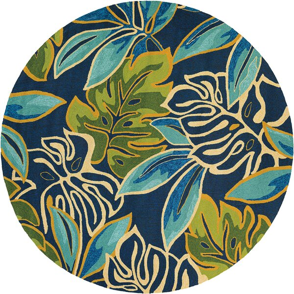 Mariann Areca Palms Hand-Woven Azure/Green Indoor/Outdoor Area Rug by Beachcrest Home