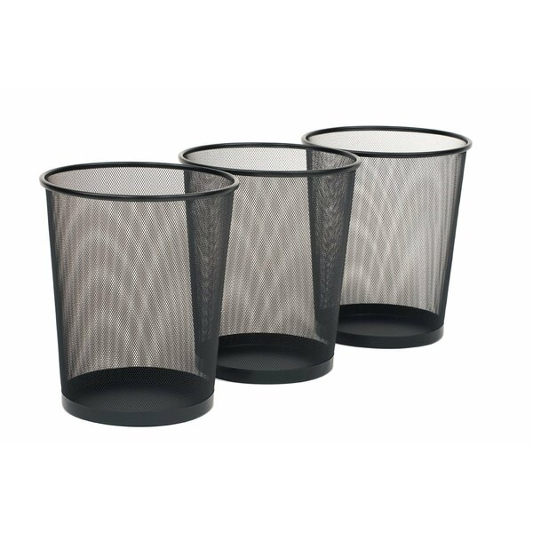 Round Mesh Stainless Steel 6 Gallon Waste Basket (Set of 12) by Seville Classics