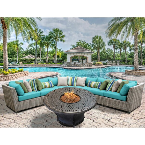 Meeks 6 Piece Sectional Seating Group with Cushions by Rosecliff Heights