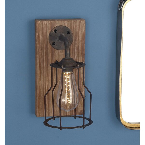 Wood/Metal 1-Light LED Armed Sconce by Cole & Grey