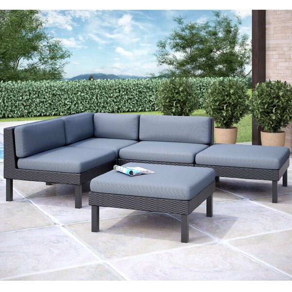 Abeale 5 Piece Sectional Set with Cushions by Wrought Studio