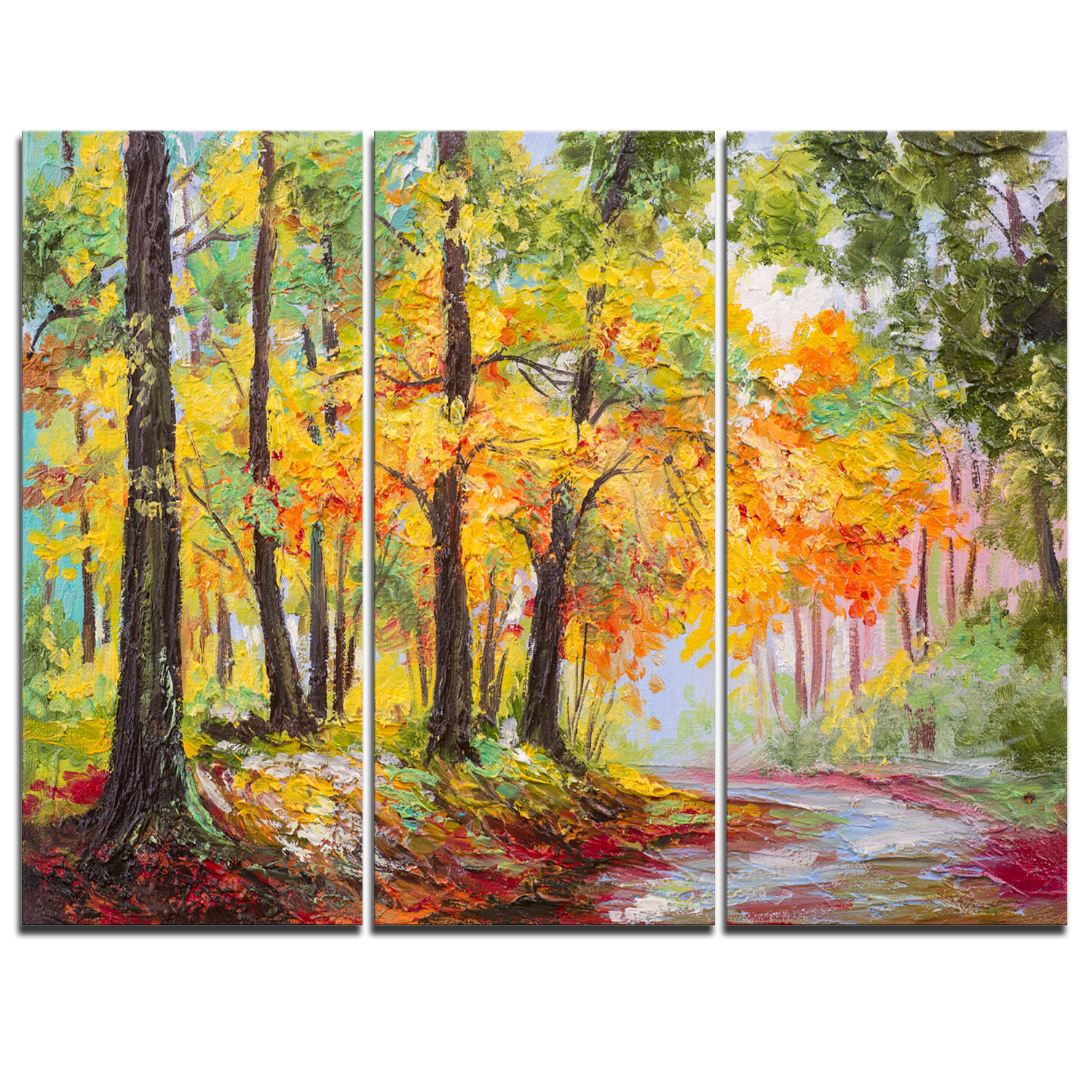 DesignArt Colorful Autumn Forest - 3 Piece Painting Print on Wrapped ...