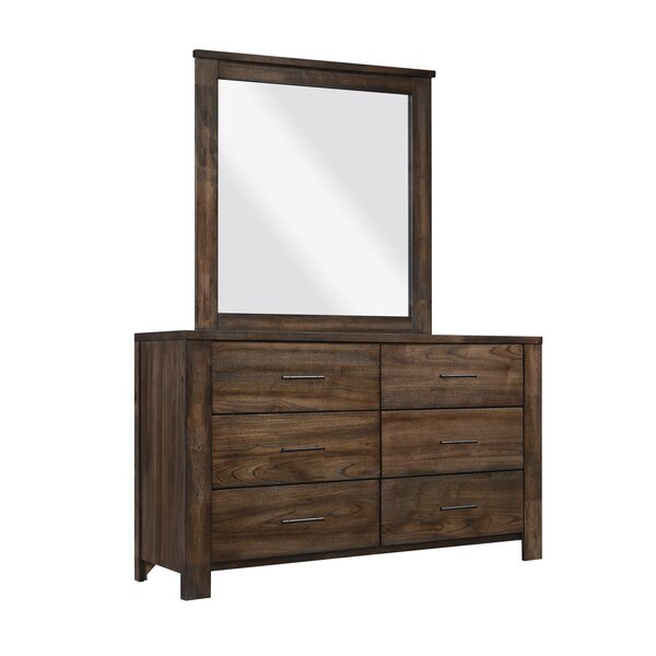 Butcher 6 Drawer Double Dresser with Mirror by Loon Peak