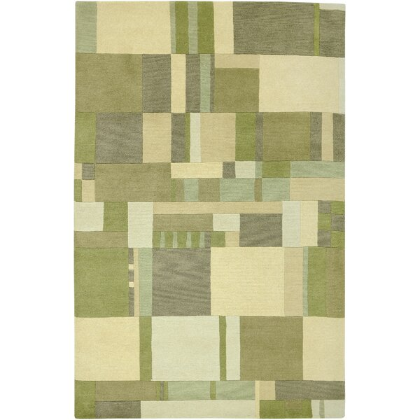 Leone Hand-Knotted Green/Tan Area Rug by Meridian Rugmakers