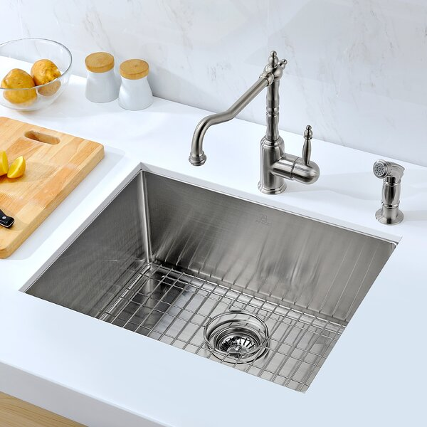 Vanguard 23 L x 18 W Single Bawl Undermount Kitchen Sink with Drain Assembly by ANZZI