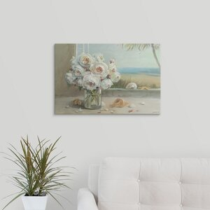 Coastal Roses by Danhui Nai Painting Print on Wrapped Canvas by Great Big Canvas