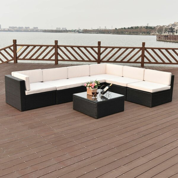 Jeffers Sectional 7 Piece Rattan Sofa Seating Group with Cushions by Wrought Studio