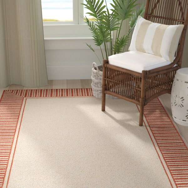 Oliver Burnt Orange/Cream Indoor/Outdoor Area Rug by Bay Isle Home