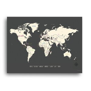 'My Travels World Map' Graphic Art on Poster by Kindred Sol Collective