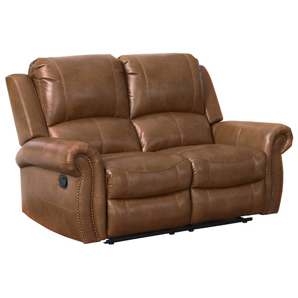 Bitter Root Leather Reclining Loveseat by Darby Home Co