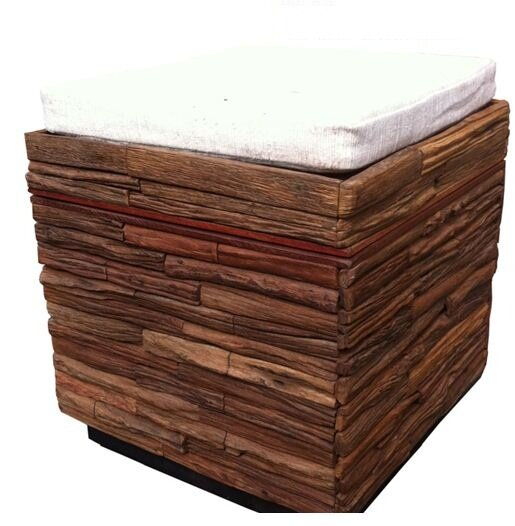 Lanna Reclaimed Wood Stool by Asian Art Imports