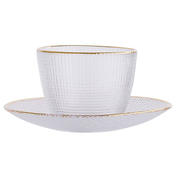 Bigley Glass Cup with Round Saucer by Langley Street