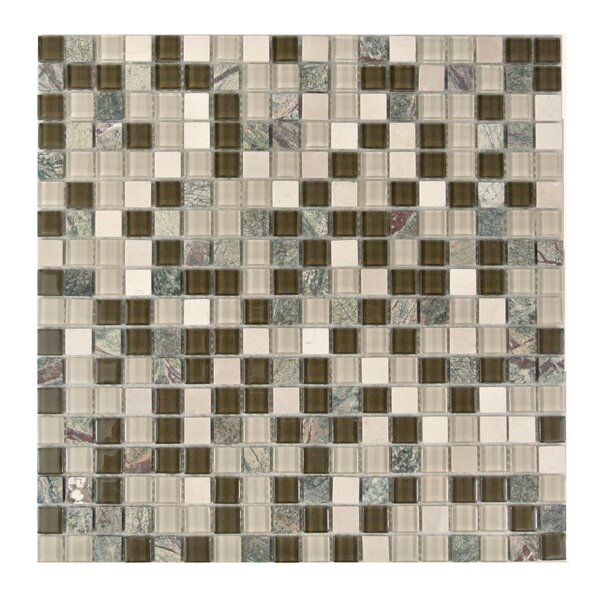 Crystal Stone 0.63 x 0.63 Glass Mosaic Tile in Glazed Forest Walk by Abolos