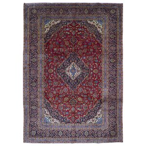 Avonmore Traditional Hand-Woven Rectangle Wool Blue Area Rug