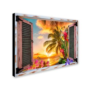 'Tropical Window to Paradise II' Graphic Art Print on Wrapped Canvas by Trademark Fine Art