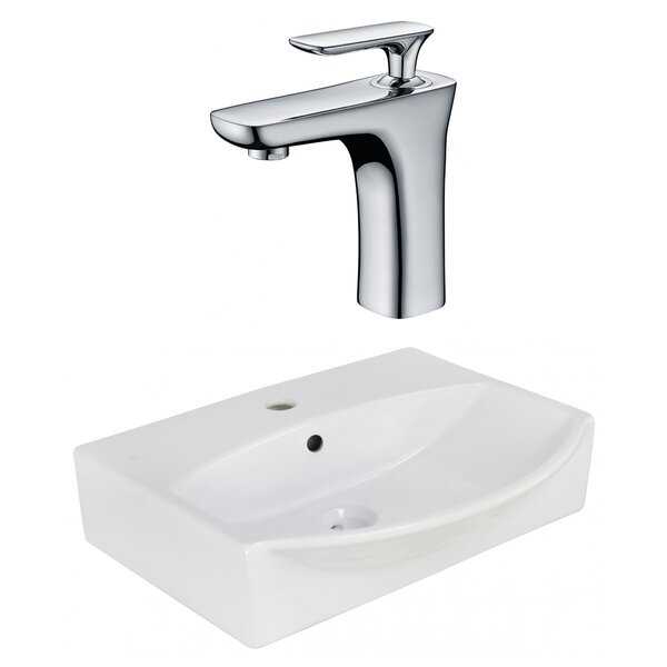 Ceramic U-Shaped Wall Mount Bathroom Sink with Faucet and Overflow by American Imaginations