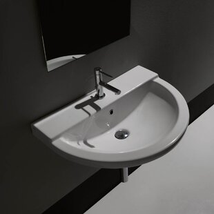 Affordable One Ceramic Ceramic U-Shaped Vessel Bathroom Sink with Overflow ByWS Bath Collections