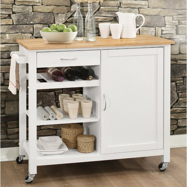 Rodrigo Kitchen Cart with Solid Wood Top by Charlton Home