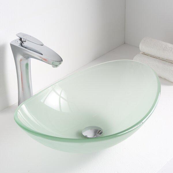 Forza Glass Oval Vessel Bathroom Sink by ANZZI
