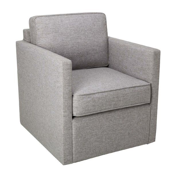 Hockett Fabric Upholstered Wooden Swivel Armchair by Wrought Studio