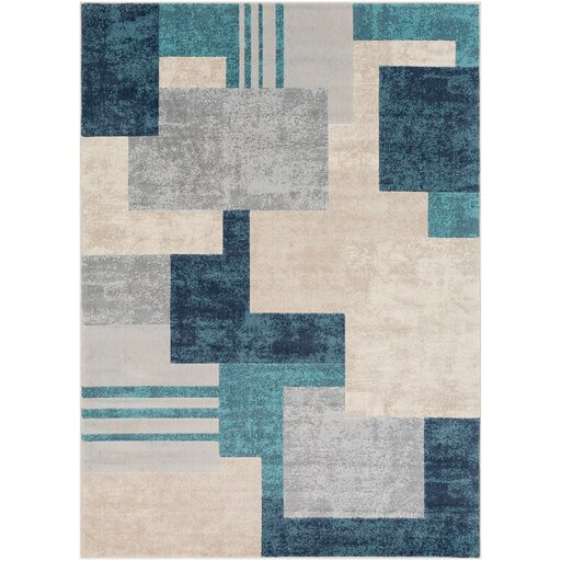 Ashlee Geometric Aqua/Charcoal Area Rug by Orren Ellis