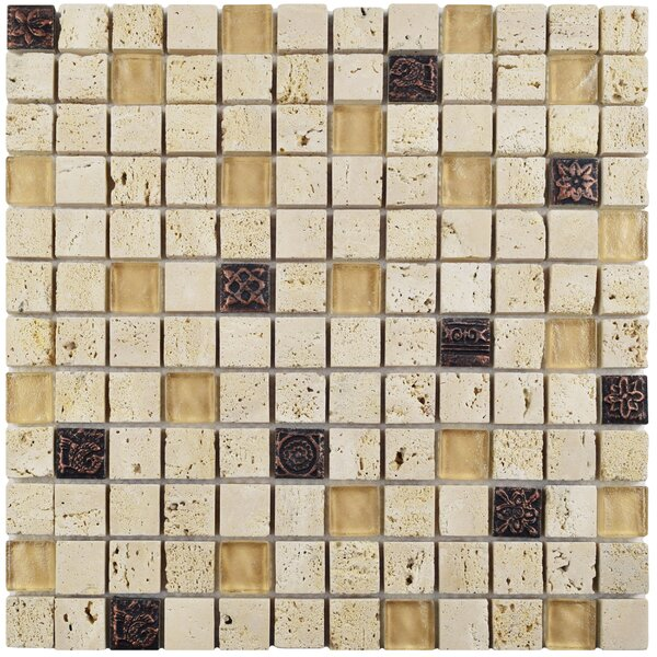 Abbey 0.88 x 0.88 Glass/Natural Stone/Metal Mosaic Tile in Beige by EliteTile