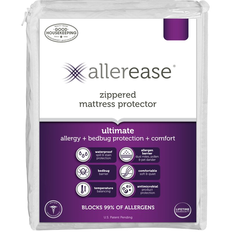 AllerEase Maximum Allergy and Bed Bug Protection Zippered Mattress Protector tw
