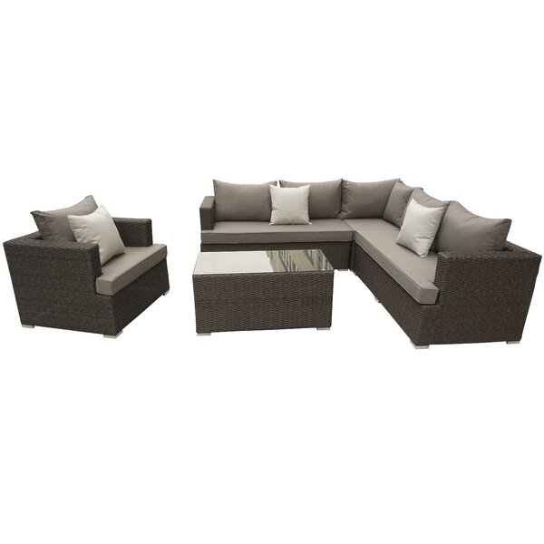 Oasis 5 Piece Rattan Sectional Set with Cushions by Willa Arlo Interiors