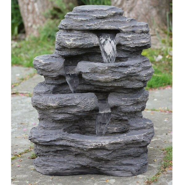 Resin LED Lighted Multi-Tiered Rock Look Patio Garden Water Fountain with Light by Northlight Seasonal