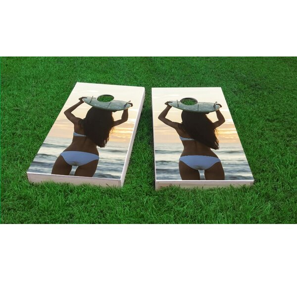 Bikini Surfer Girl Cornhole Game Set by Custom Cornhole Boards