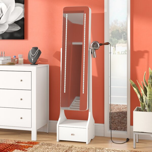 Charlcombe Touch Screen LED Free Standing Jewelry Armoire with Mirror by Ebern Designs