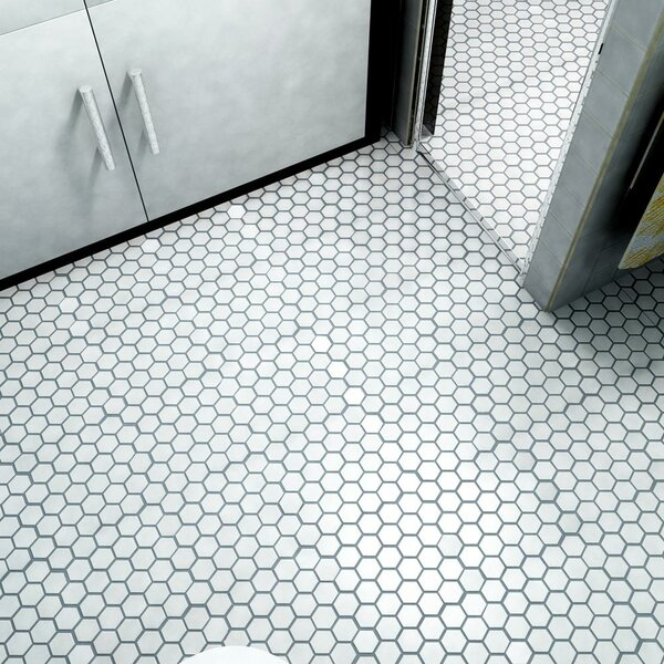Barcelona Hexagon Glossy 2 x 2.32 Porcelain Mosaic Tile in Bright White by The Mosaic Factory