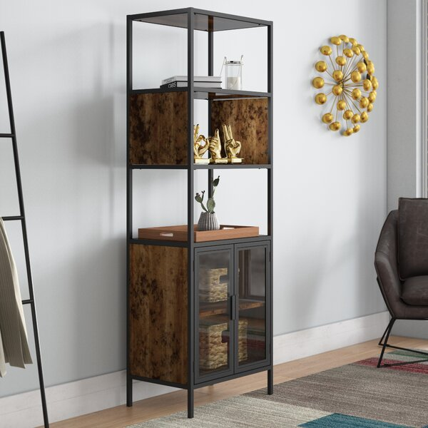 Nena Metal And Wood Display Stand With Glass Door By Ivy Bronx 2019 Sale