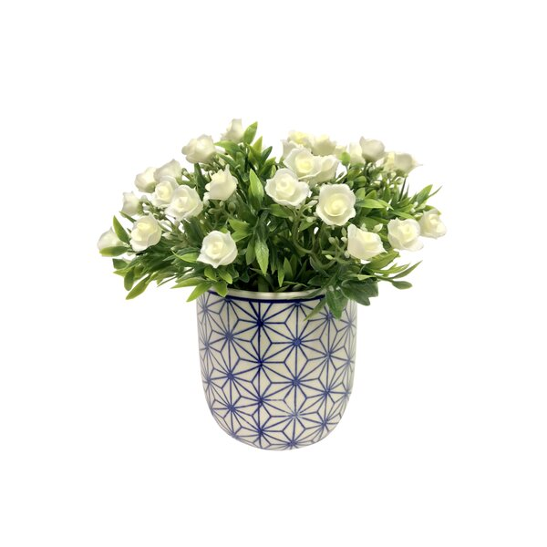 Mini-Blooms Hydrangea Floral Arrangement in Vase by Ivy Bronx