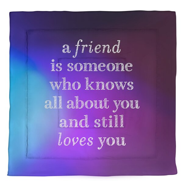 Love & Friendship Quote Single Reversible Comforter