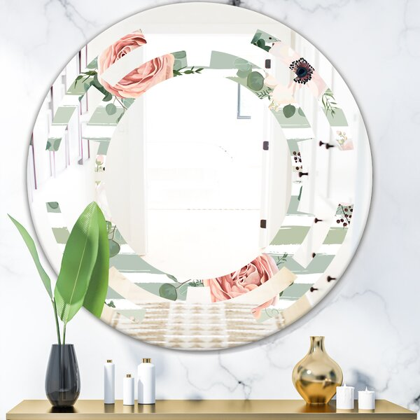 Space Floral Pattern V French Country Frameless Wall Mirror