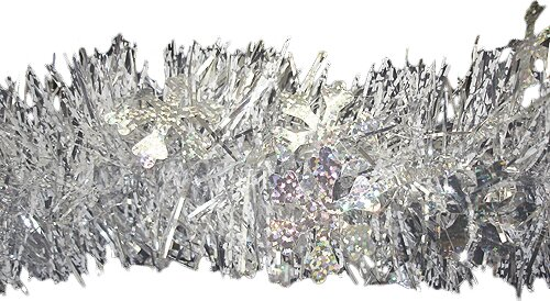 Christmas Tinsel Garland Holographic Snowflakes with Unlit by Northlight Seasonal