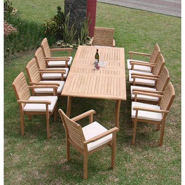 Keyshawn Luxurious 11 Piece Teak Dining Set by Rosecliff Heights