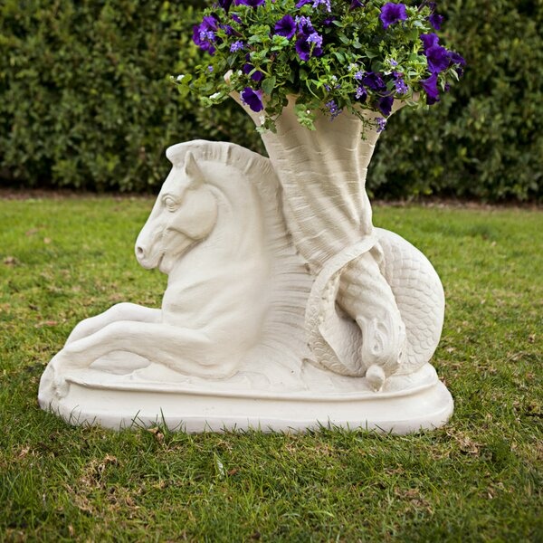 Sea Horse Resin Stone Statue Planter by Amedeo Design