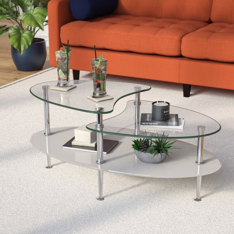 Wrought Studio Cate Glass Oval Coffee Table & Reviews